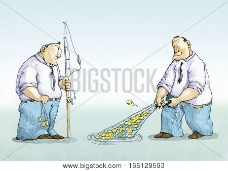 a man with a fishing rod collects a few dimes a man with a fishing net collects millions