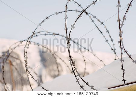wire entanglements against the background of the blue sky