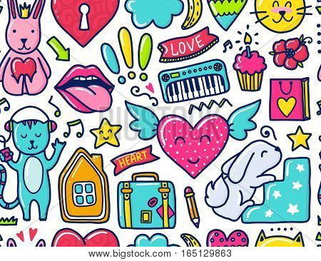 Doodle cute Pattern. Color vector illustration with hearts and flowers, animals and lips, cloud and stars. Design for prints and cards.