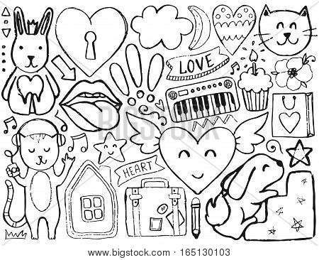 Sketch cute elements. Vector coloring page.  Illustration with hearts and flowers, animals and lips, cloud and stars. Design for prints and cards.