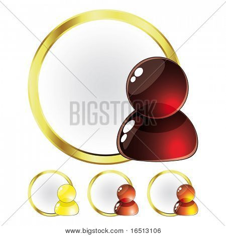 Raster Set of Glass People Red and Yellow (Vector version  23976808)