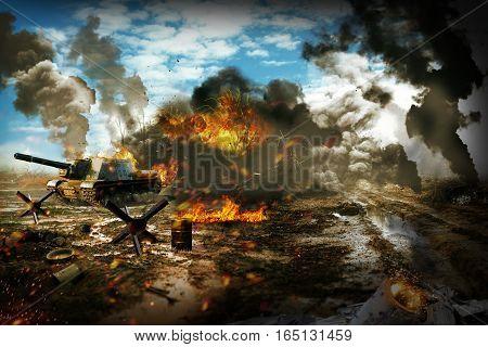 Battle Tank in the war zone. Tank mission to destroy enemy targets