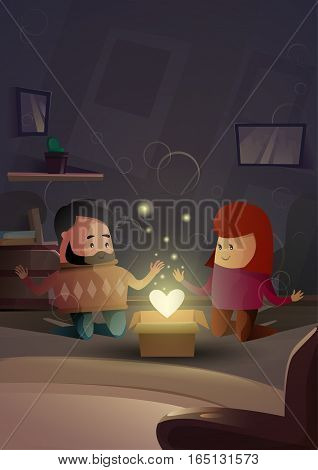 Valentine Day Gift Card Holiday Couple Lovers Modern Apartment Heart Shape Celebration Flat Vector Illustration