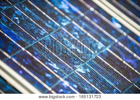 Solar panels on the foor. Selective focus