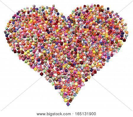 Gift large group 3d illustration heart shape over white isolated