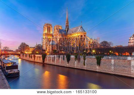 Cathedral of Notre Dame de Paris during evening blue hour, France