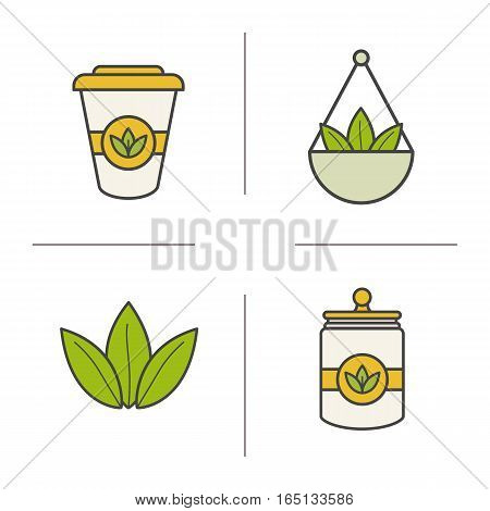 Tea color icons set. Loose tea leaves in bulk, disposable paper cup, container. Isolated vector illustration