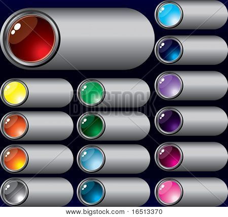 Raster  Set of buttons Silver for Web design   (Vector version     23657590)