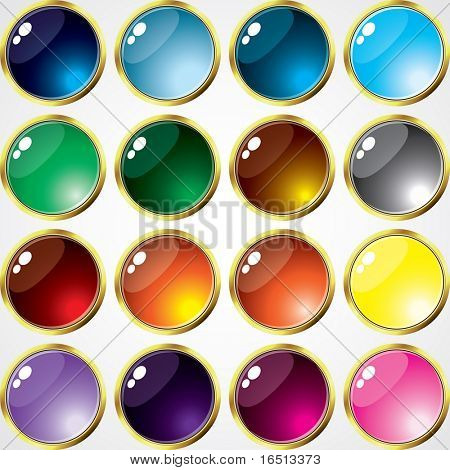 Raster    Set of buttons of Gold Frame (Vector version 23657605)