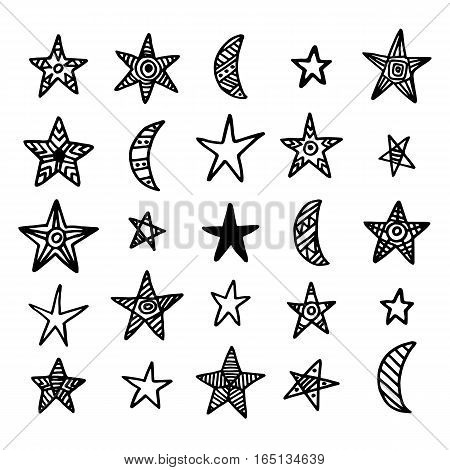 Hand drawn star and moon doodles collection. Design elements set. Vector illustration