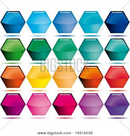 Collection of glass sweet buttons in form honeycomb.