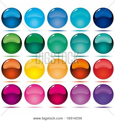 Collection of glass sweet buttons of circular configuration.