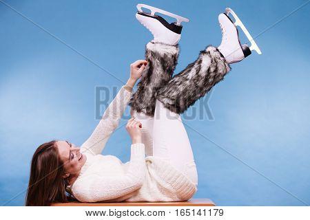 Woman Wearing Ice Skates Fur Socks, Skating