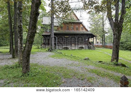 ZAKOPANE POLAND - SEPTEMBER 20 2016: Ornak wooden villa that can be seen from front side. This villa was built in the early twentieth century and is a monument of wooden architecture