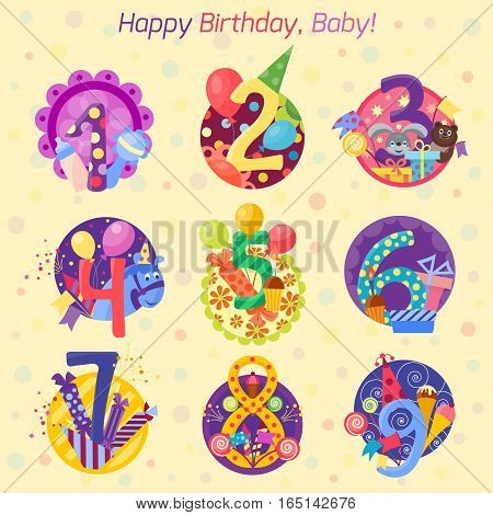 Birthday badge banner design flat set. Celebration emblem anniversary card date paper sticker vector symbol. Invitation with number day typography.
