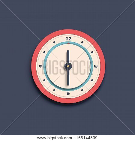Round modern wall numeral isolated vector clock