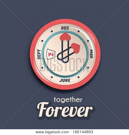 Valentine day banner concept. Vector illustration. Realistic isolated stylized wall clock.