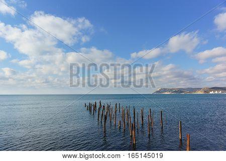 The remains of the destroyed pier in the sea. Russia Krasnodar Krai village of Big Utrish