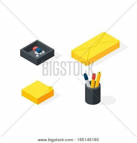 Stationery isometric icons set vector graphic illustration. Network internet web components workplace. Business office 3d object supplies.