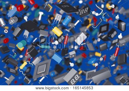 3D render of a variety of electronic components
