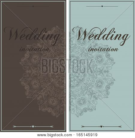 Wedding card flyer pages ornament illustration concept. Vintage art traditional wedding invitation elements. Vector decorative retro greeting card or invitation design.