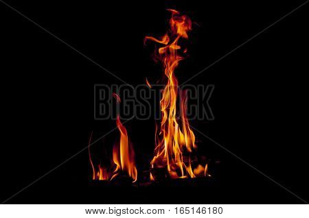 flames in black background, warm, heat, fire