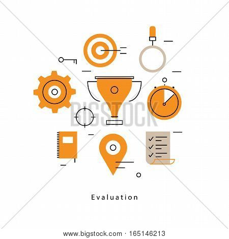 Performance evaluation and assessment, reviews and ratings flat line business vector illustration design banner. Success concept for mobile and web graphics