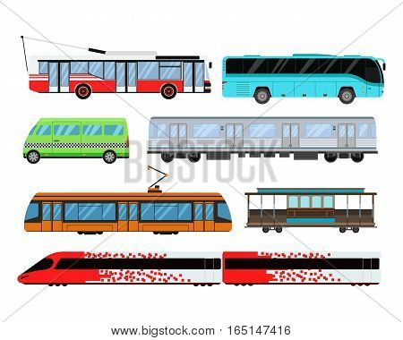 City transport set and public industry taxi, bus, subway, train. Vector flat illustrations traffic vehicle street tourism modern business truck. Cityscape business travel way.