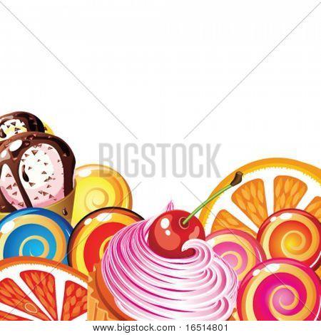 Постер, плакат: Граница конфеты торты фрукты ягоды и мороженого , холст на подрамнике