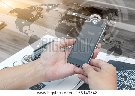 Business Globalization Connection Technology Concept ,man Using Smartphone