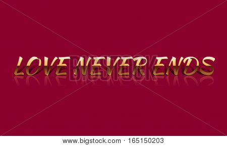 Love Never Ends Golden Vector Drawn Card.