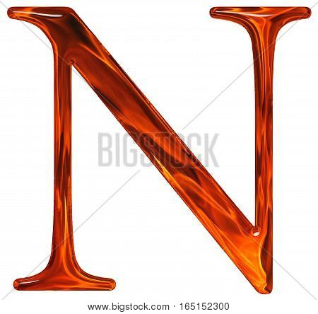 Uppercase Letter N - The Extruded Of Glass With Pattern Flame, Isolated On White Background