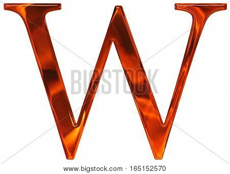 Uppercase Letter W - The Extruded Of Glass With Pattern Flame, Isolated On White Background