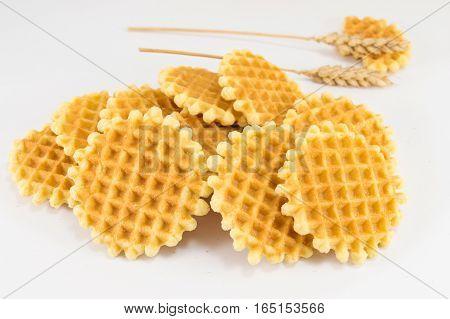 Bunch Of Golden Baked Waffle Cookies