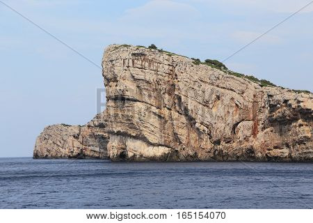 This is fantastic view of the coastal cliffs of one of the many uninhabited islands of Kornati National Nature Reserve in Croatia.