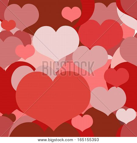 Seamless Red and Pink pattern for a Valentine Day with Overlapped Hearts. Can be used for a Love Valentine Letter Card Valentines day Celebration design wrapping etc.
