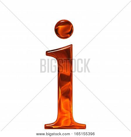 Lowercase Letter I - The Extruded Of Glass With Pattern Flame, Isolated On White Background
