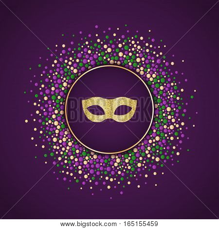 Mardi Gras holiday background. Round dotted frame with golden glitter mask. Vector template suitable for greeting cards invitations posters prints. EPS10.