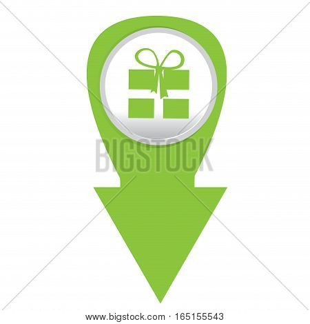 Isolated web pin with a present icon, Vector illustration