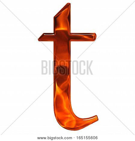 Lowercase Letter T - The Extruded Of Glass With Pattern Flame, Isolated On White Background