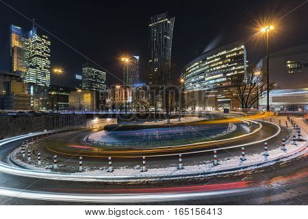 WARSAW POLAND - JANUARY 09 2017: Downtown Warsaw Financial center in Warsaw Poland. Warsaw is one of the most economical successful capital in Europe in last few years.