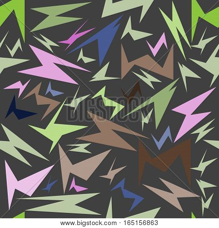 seamless pattern, unusual geometric shapes on a gray background, vector illustra
