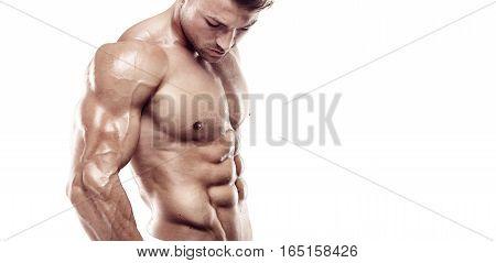 Muscular Bodybuilder Guy Standing Over White Background