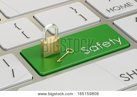 Safety concept on keyboard button 3D rendering
