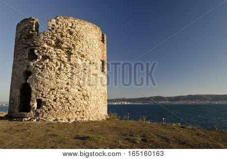 Ruins of the ancient ancient tower at seaside Nesebar Bulgaria