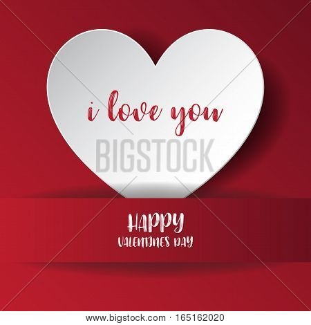 Heart Paper Sticker With Shadow Valentine's Day. Vector Illustration Postcard. Vector Illustration