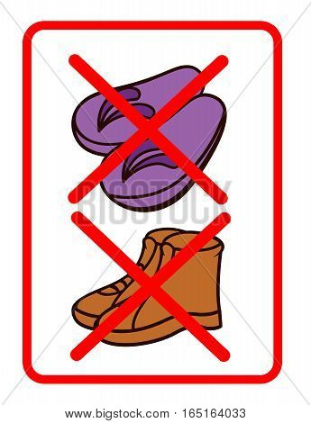 No Footwear Sign Illustration. Daily Life Vector Objects.