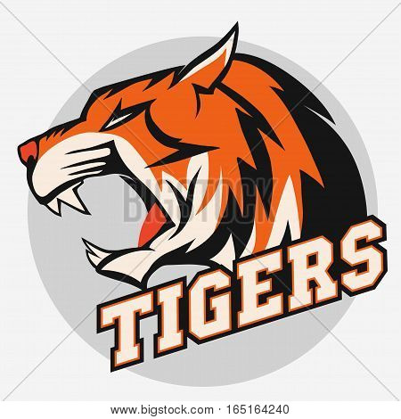 Angry Tiger Sport team emblem, wild big cat head. Cute face of Black Cat. Aggressive cat with bared teeth in cartoon style, t-shirt print design