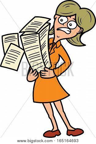 Secretary Carrying Heavy Pile of Files Cartoon Illustration