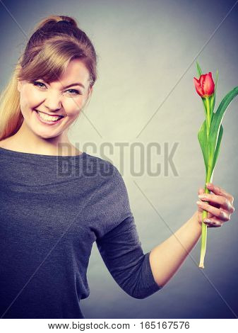 Leisure casual flora nature beauty fun enjoyment concept. Grinning woman with flower. Cheerful young lady holding red tulip.